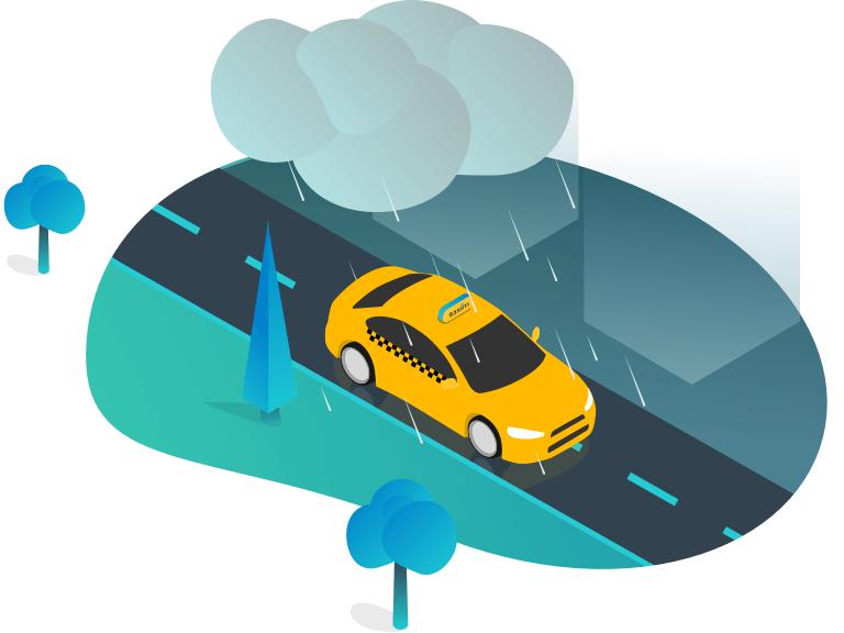 Taxi város rendelés autó sofőr utas applikáció app budapest hősök tere lánchíd eső esernyő fa